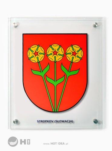 Szklany herb miasta - Stropkov, Słowacja. Tablica na dystansach.