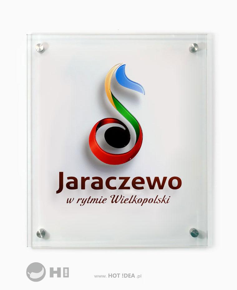 Szklana tablica z logo powiatu, z logo gminy, z logo firmy, na zamówienie