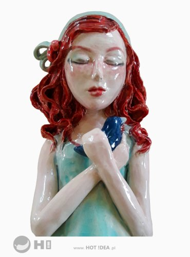 Dziewczynka z ptaszkiem - rzeźba ceramiczna, ceramika artystyczna, ceramiczna figurka do zawieszenia na ścianie - Magdalena Pelczar-Wieczorek