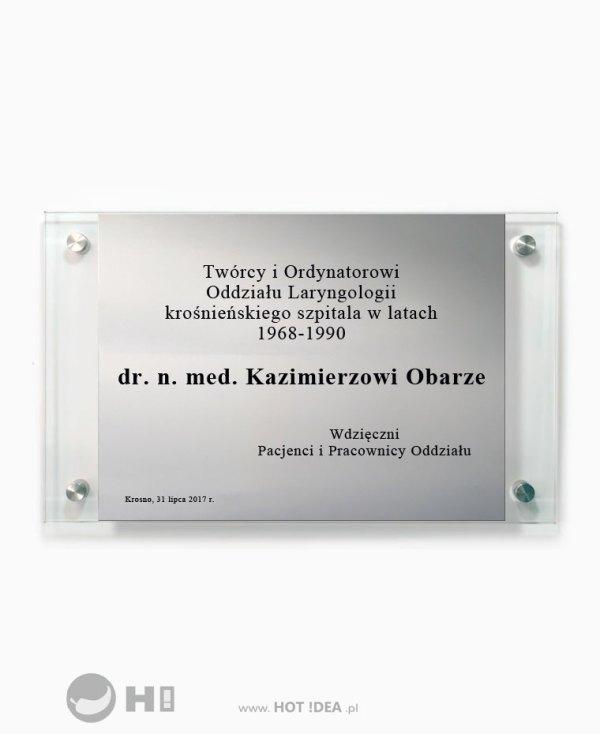 Szklana tablica pamiątkowa z aluminiową blaszką, Szklana tablica informacyjna z aluminium