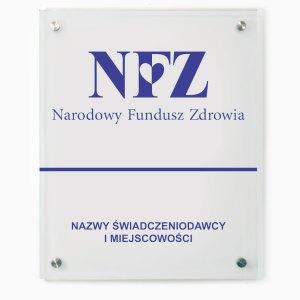 Szklana tablica dla świadczeniodawcy NFZ, Narodowy Fundusz Zdrowia 60x75cm