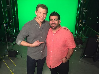 Bobby Flay and Kevin Naderi on the Set of Beat Bobby Flay_Photo courtesy of Roost