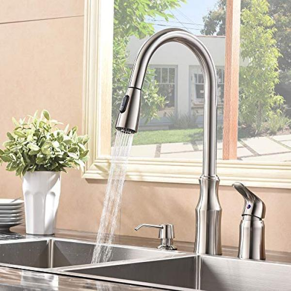 hotis 3 hole kitchen sink faucet with pull down sprayer soap dispenser stainless steel single handle kitchen faucet bru kitchen faucet hotis home