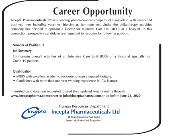 Incepta Pharmaceuticals Job Circular 2020