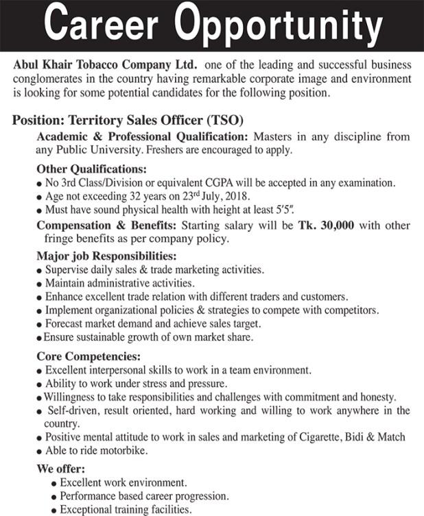 Abul khair Tobacco Company Job Circular