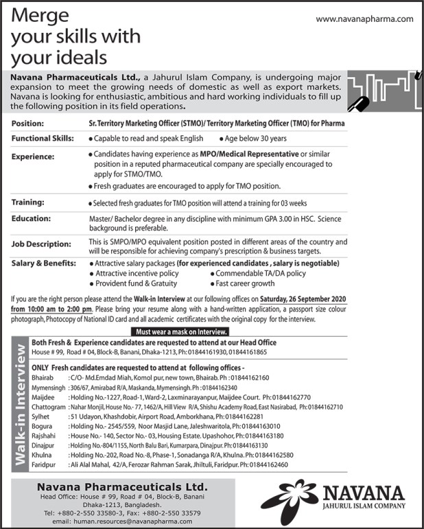 Navana Pharmaceuticals Job Circular 2020