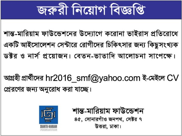Shanto Mariam Foundation Job Circular 2020