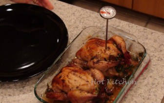 Check the temperature of poultry. It is good when the temperature just reaches 160 degrees Fahrenheit.