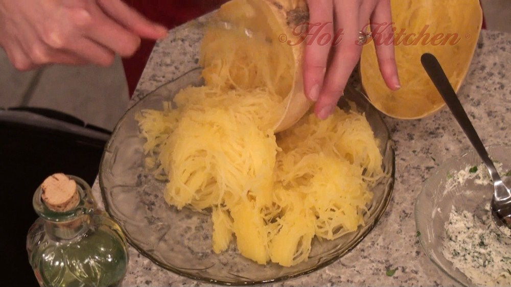 Hot Kitchen Spaghetti Squash with Herbed Chevre Recipe Demonstration