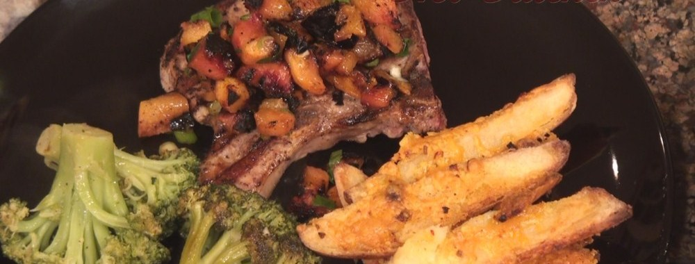 Hot Kitchen Smokey Pork Chops with Grilled Peach Salsa, Cheesy Oven Fries, Recipe Demonstration