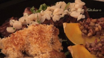 Hot Kitchen Steak with Scallop Butter Scalloped Potatoes w/Fennel Bechemal, Savory Acorn Squash