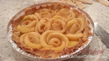 Nearly finished brandied apple rosette pie.