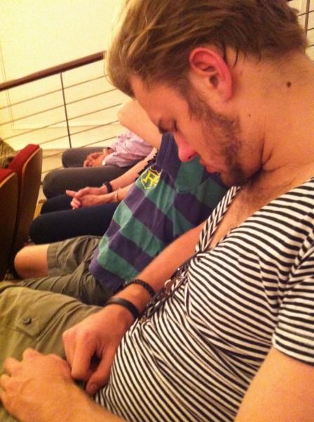 Archie asleep in church on Easter Sunday
