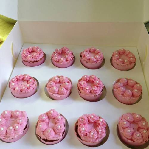 Strawberry cupcakes all ready for their transportation to the party