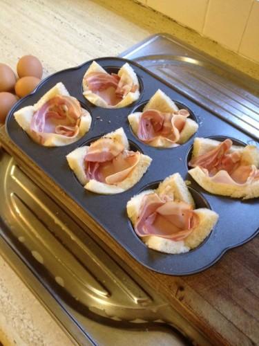 Adding the pancetta