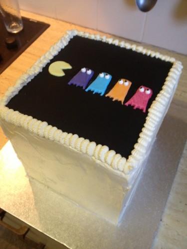 A Pac-man cube cake