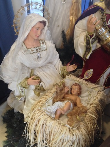 Mary looking a lot better just after childbirth than I did.  This nativity set is life-size.
