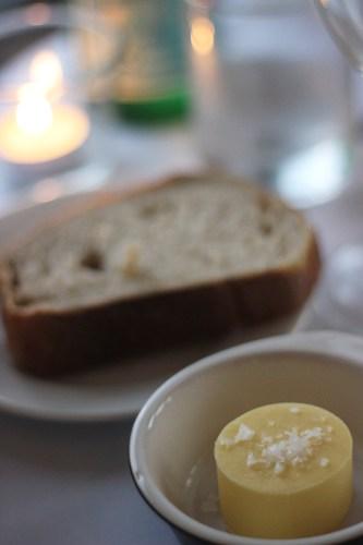 Warmed sourdough bread