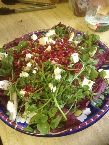 Radicchio and watercress salad with pomegranate molasses dressing