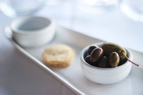 Parmesan crackers with mixed olives