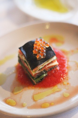 Cured ocean trout lasagna from The Restaurant, 1989
