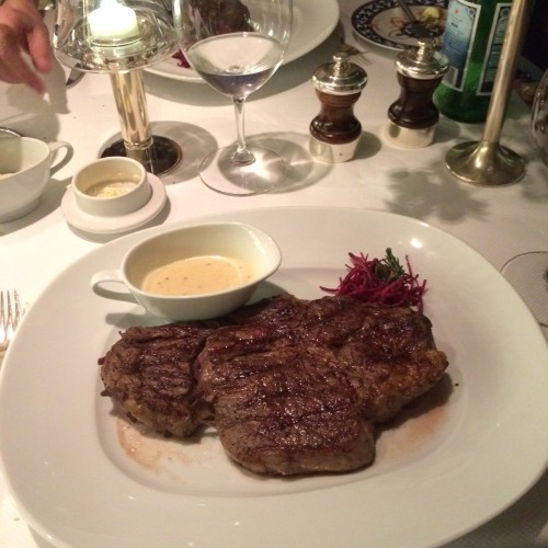 Carl's medium-rare steak with horseradish cream