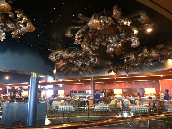 The busy ceiling of the Vista Dining Room