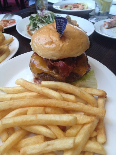 The cheeseburger with fries