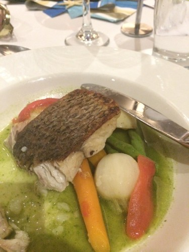 Pan fried barramundi with spring vegetables, chat potatoes and pistou broth