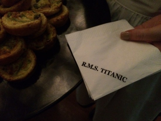All the cocktail napkins were stamped with 'RMS Titanic'