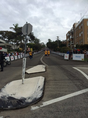 The starting point of the race, looking up the hill to the finish line (that you can't see)