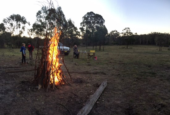 The fire the boys built and insisted on lighting the traditional way without fire-starters
