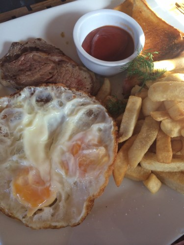 Steak, Eggs 'n' Chips:  1400 vt or about AUS$15.00