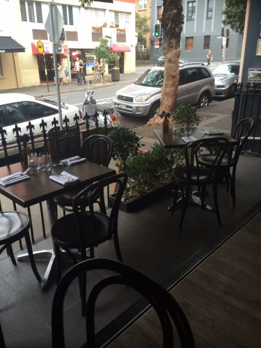 Outdoor dining at Downstairs