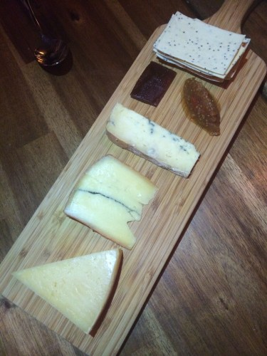 Three cheeses with apple chutney, quince and lavosh
