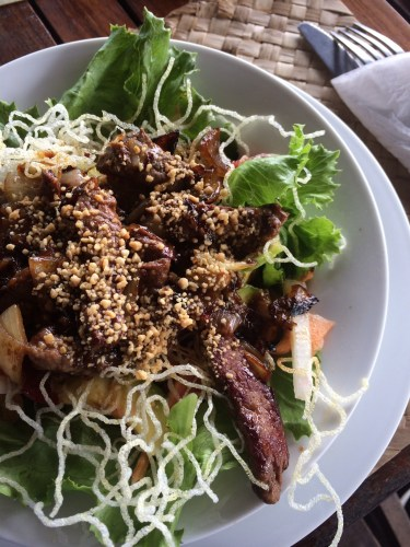Thai Beef Salad with crispy noodles:  1,350 vt
