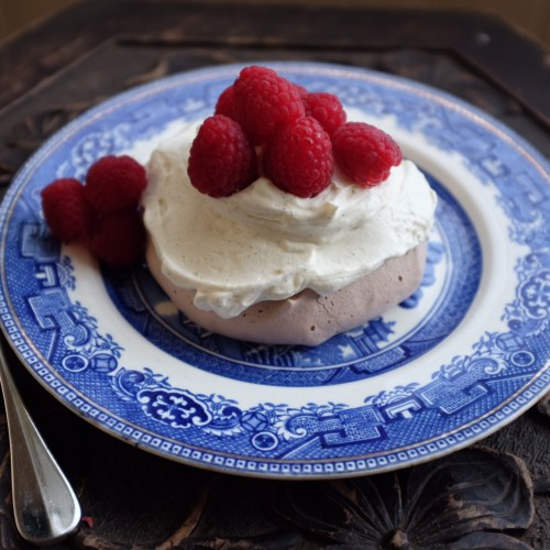 Topped with fresh raspberries
