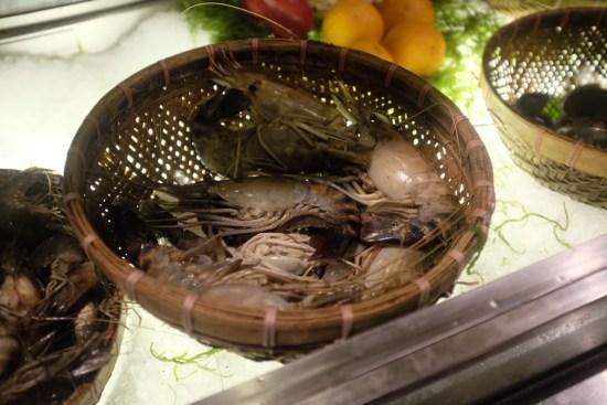 Baskets of fresh seafood