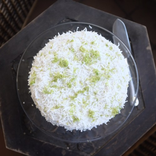 Sprinkled with shredded coconut and lime zest