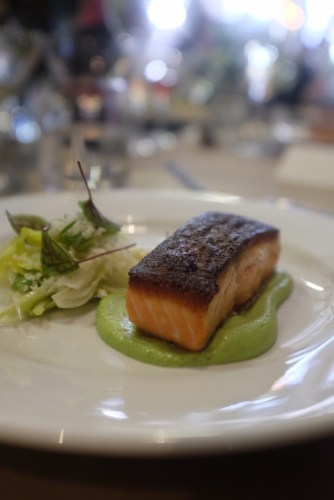 Lightly smoked huon salmon with puree, celery heart and fennel salad