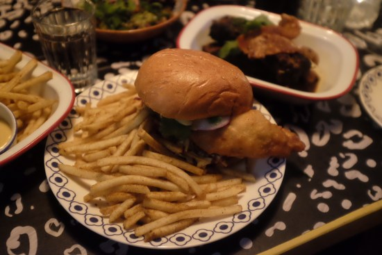 Soft Shell Crab Burger with Rosie's sunshine slaw, tamarind sauce and turmeric and ginger mayo: $18.00
