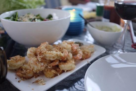 Spicy battered prawns