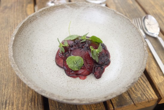 Raw kingfish with blackberry, blood plum and purslane