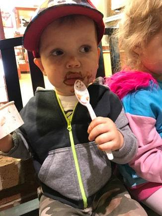 Sawyer wore more ice cream than he ate