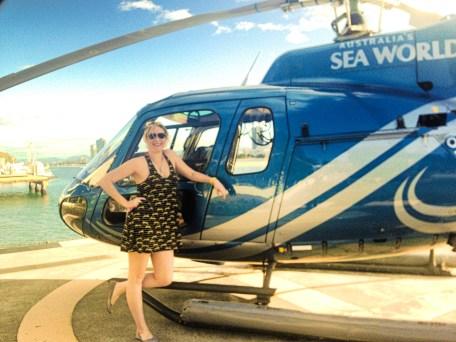 helicopter, girl, gold coast, seaworld