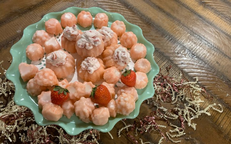 Pink Champagne Cake Bites with Champagne Glaze