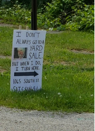 best yard sale sign ever