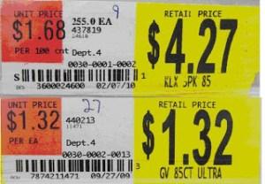 Store Shelf price tag