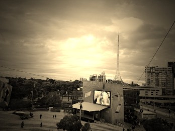 ANZAC Day morning at Fed Square with The Shrine in the distance