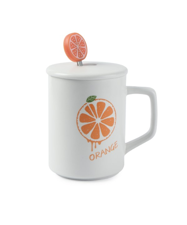 Ceramic Mug with Orange Design